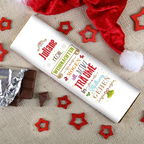 300g Schokolade zu Weihnachten mit Wunschnamen