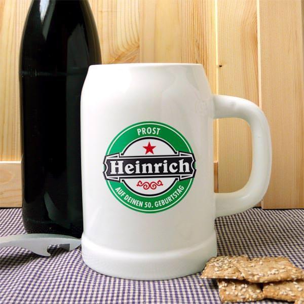 Bierkrug mit Namen im Bierlogo