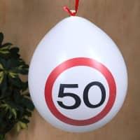 8 Luftballons Verkehrsschild 50