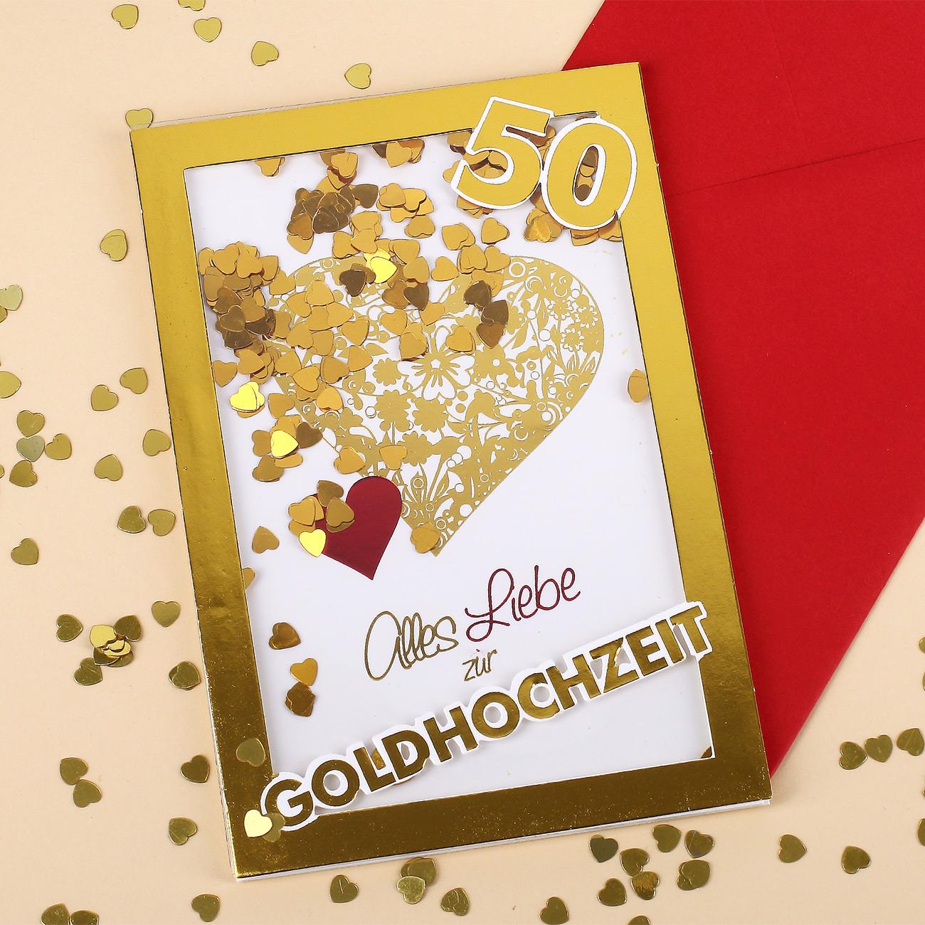 Konfetti Schüttel Glückwunschkarte Zur Goldenen Hochzeit