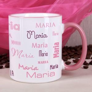 Tasse mit Name in Rosa