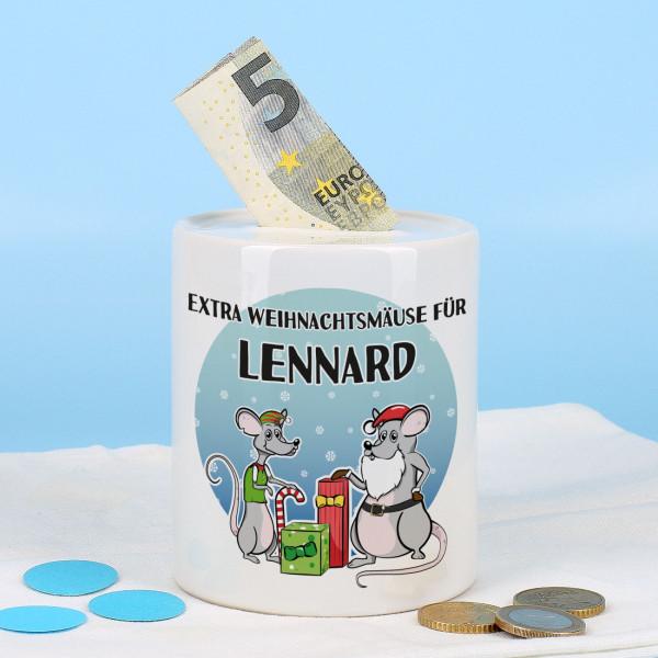 """Keramikspardose """"extra Weihnachtsmäuse"""" mit Ihrem Wunschnamen bedruckt"""