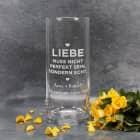 Echte Liebe - personalisierte Vase mit Wunschtext