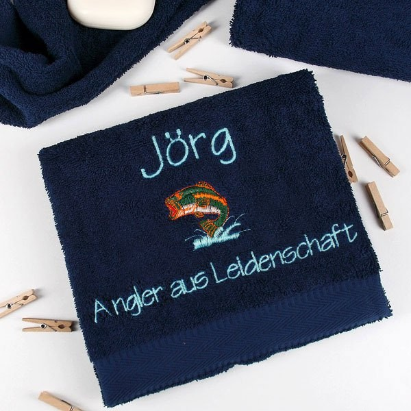 Angler Handtuch in dunkelblau mit Name