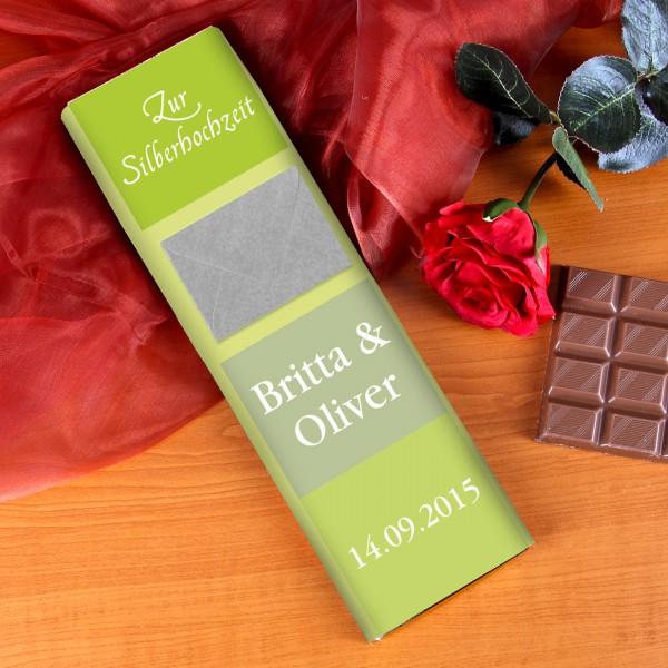 XL Silberhochzeitsschokolade mit Namen, Datum und Briefumschlag