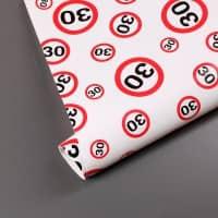 Geschenkpapier mit Verkehrszeichen-Motiv zum 30. Geburtstag