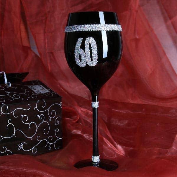 Schwarzes Wein Glas zum 60. Geburtstag
