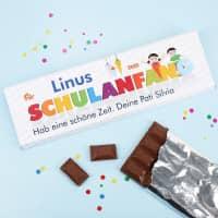 300g Schokolade zum Schulanfang mit Name und Text
