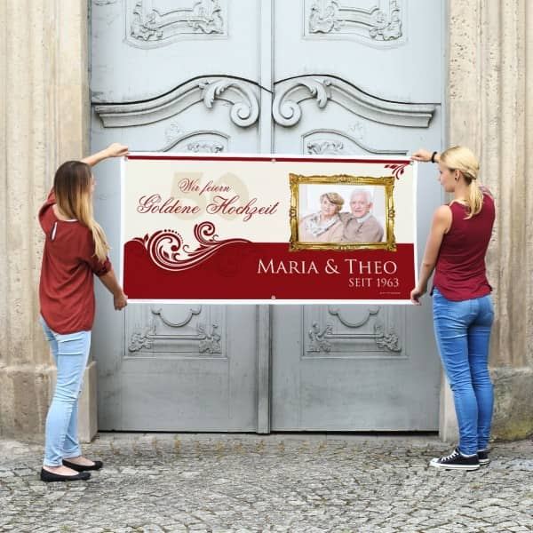 Individuellfotogeschenke - XXL Banner zur Goldenen Hochzeit mit Foto - Onlineshop Geschenke online.de