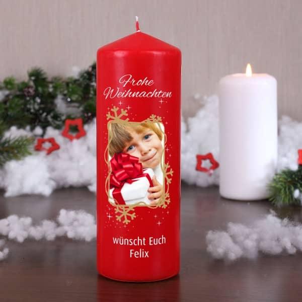 Weihnachtskerze mit Ihrem Foto und Wunschtext