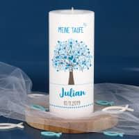 Tauf-Dauerkerze inkl. Teelicht mit blauem Lebensbaum bedruckt