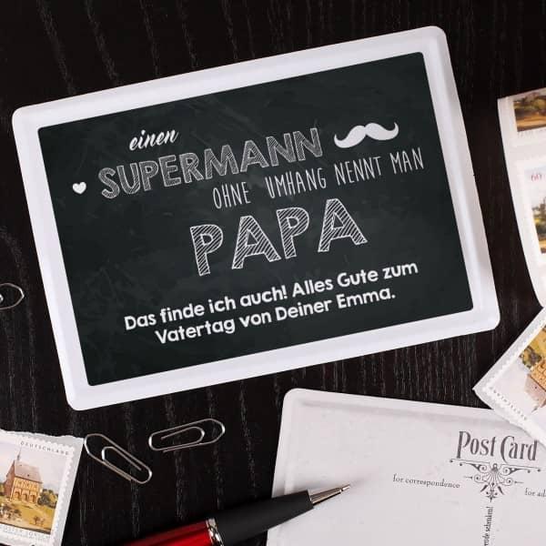 Nostalgische Blechpostkarte mit persönlichem Gruß für super Papas