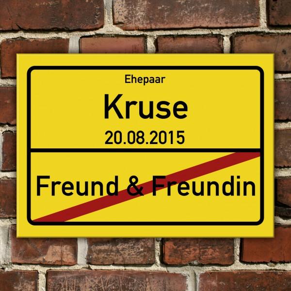 PVC Schild Freund Freundin mit Wunschname und Datum