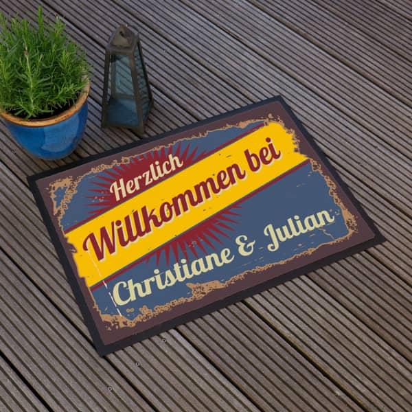 Fußmatte Herzlich Willkommen im Retro Look