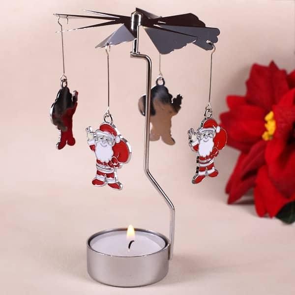 Rotierender Teelichthalter mit Santa