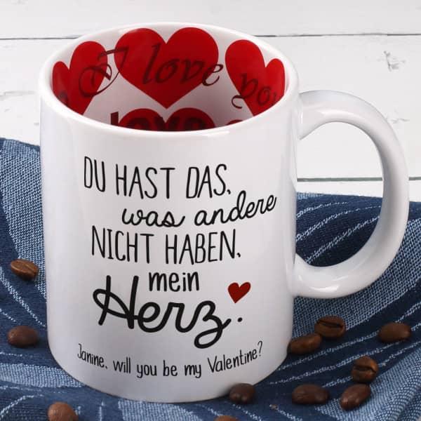 Herz Tasse innen und außen bedruckt mit Ihrem Wunschtext - Valentinstag Geschenke für Männer
