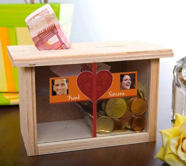 Spardose für Eheleute mit Bild und Wunschnamen