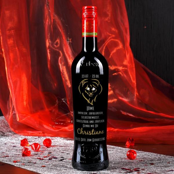 Weinflasche mit Swarovski-Elements - Löwe veredelt mit gold und silber