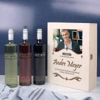 Geburtstagswein in edler Holzbox mit Foto bedruckt
