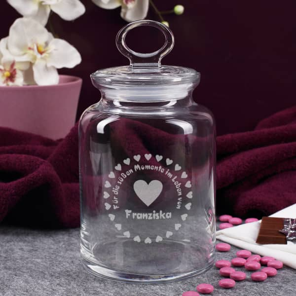 Aufbewahrungsdose aus Glas mit Namensgravur