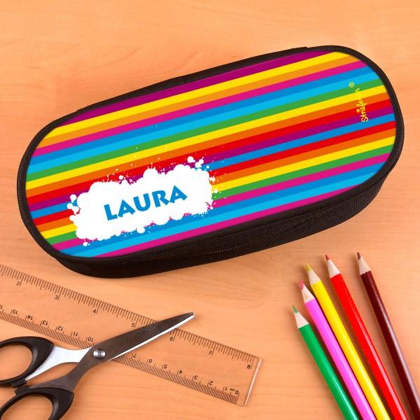 Stiftebox  mit Wunschnamen und Regenbogenmotiv