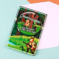 Glückwunschkarte mit Button für Jäger