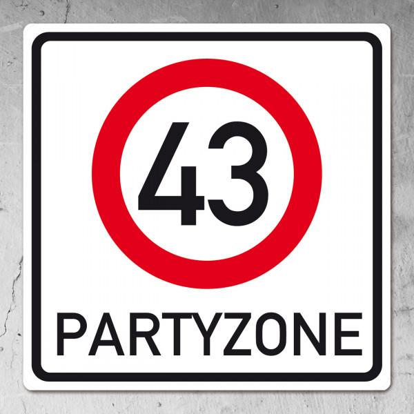 """Geburtstagagsbanner """"Partyzone"""" zum 43. Geburtstag"""