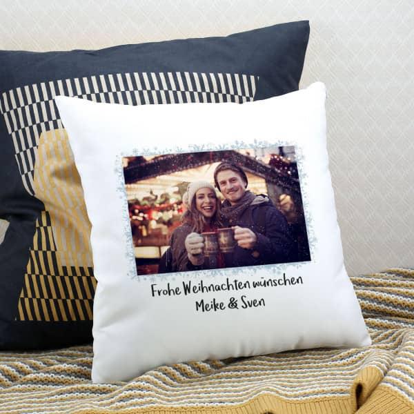 Individuellfotogeschenke - weihnachtliches Kissen mit Ihrem Foto und Text - Onlineshop Geschenke online.de