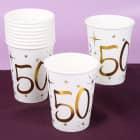10 weiße Pappbecher mit Gold-Metallic zum 50. Geburtstag