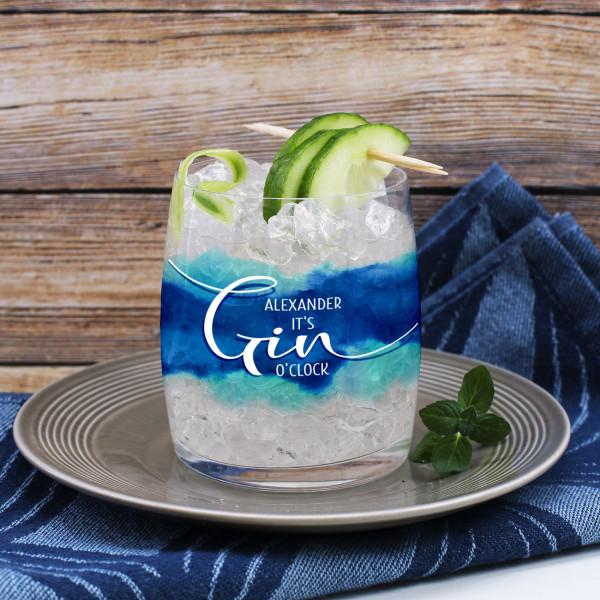 Gin-Glas umlaufend bedruckt mit blauem Watercolour und It`s Gin O´Clock mit Wunschname