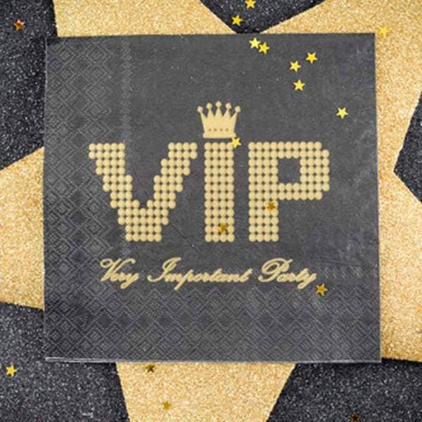 20 Papierservietten VIP in schwarz gold
