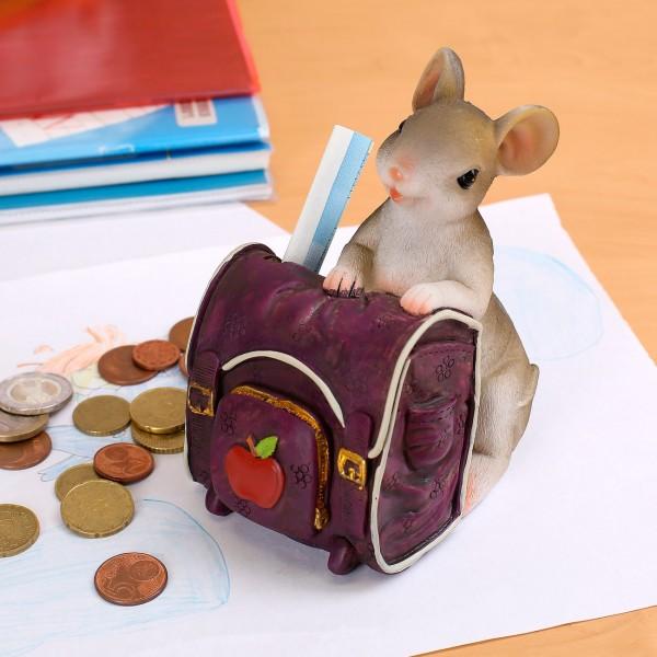 Spardose Maus mit Schulrucksack *lila*