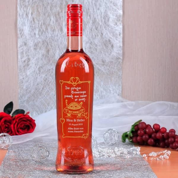 Weinflasche mit Gravur zur Hochzeit, Just Married