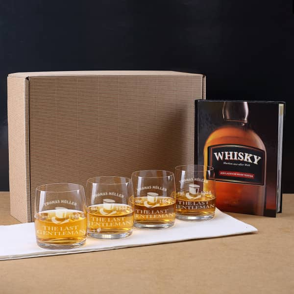 whisky geschenk set mit whiskybuch und 4 whiskygl ser mit. Black Bedroom Furniture Sets. Home Design Ideas