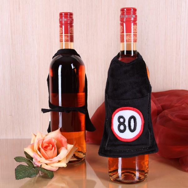 Flaschen-Schürze mit Tasche 80 aus Plüsch