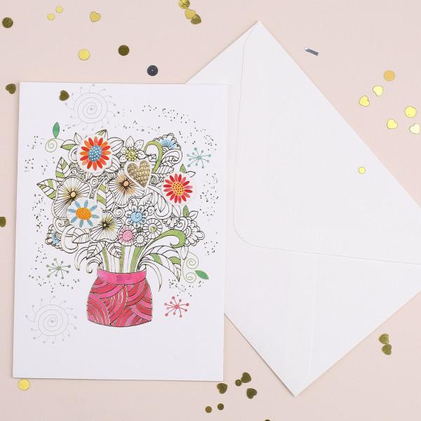 3D Grußkarte Blumenstrauß