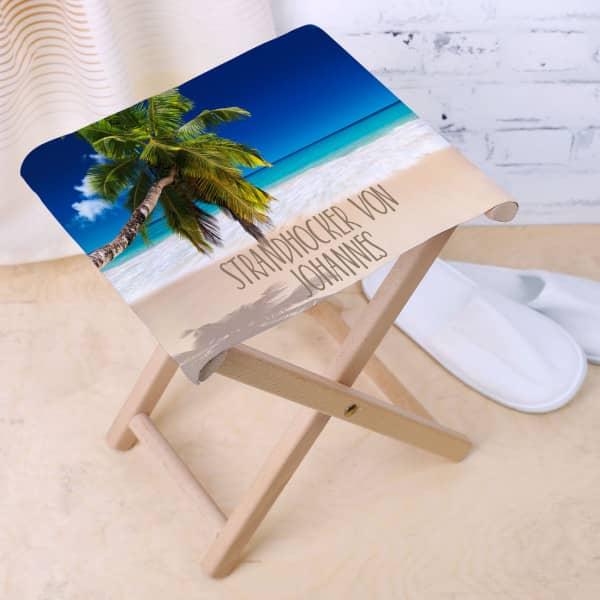 Klapphocker für den Strandurlaub mit Wunschtext