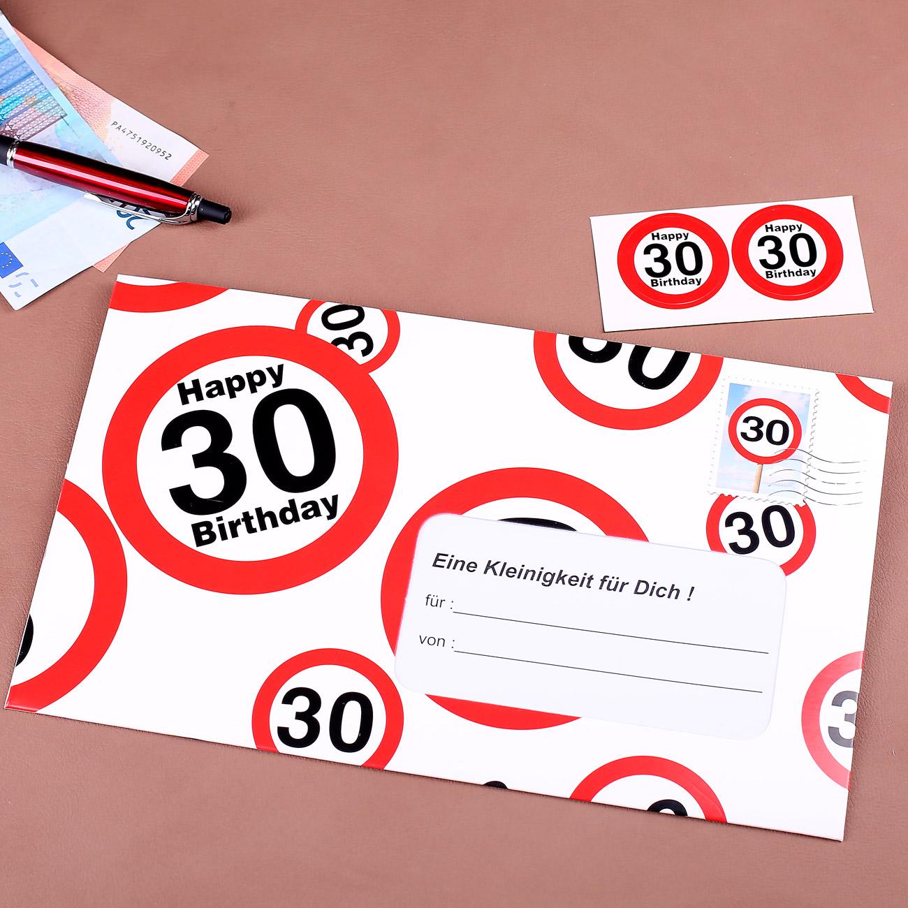 Umschlag für ein Geldgeschenk zum 30. Geburtstag  geschenke-online ...