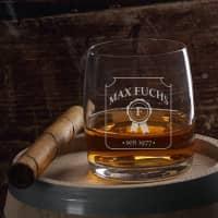 graviertes Whiskyglas Siegel mit Name, Initial und Geburtsjahr