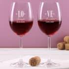 Rotweinglas Set Love mit Herzen und Gravur