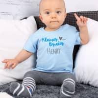 Baby Shirt Kleine Schwester / Kleiner Bruder mit Namensaufdruck