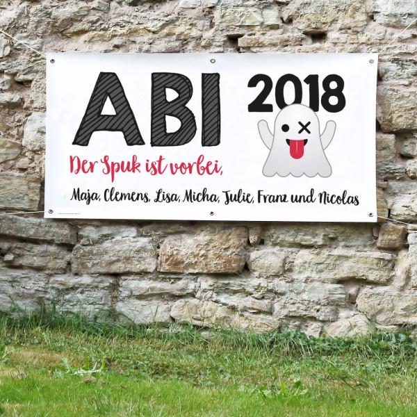 Abi-Banner mit Wunschtext - der Spuk ist vorbei