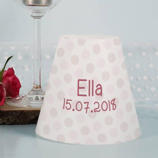 Lampenschirm für Weingläser zur Taufe mit rosa Häschen Motiv