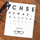 Brillenputztuch mit Sehtest und Wunschnamen bedruckt