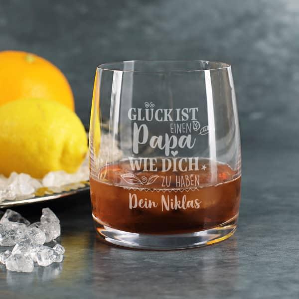 Glück ist, einen Papa wie dich zu haben - Whiskeyglas mit Wunschtext