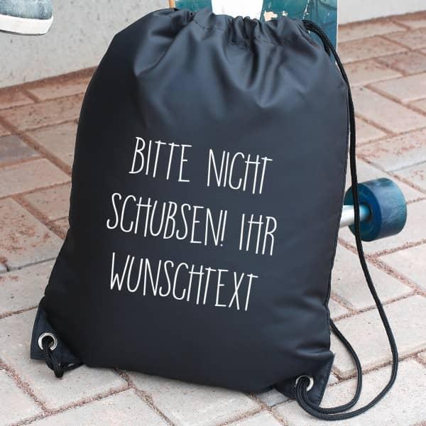 Rucksack Bitte nicht schubsen - in mehreren Farben mit Wunschtext