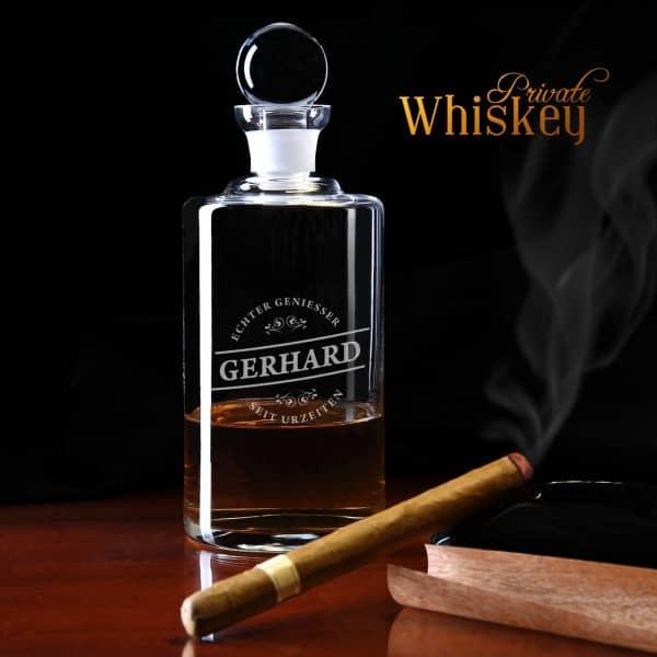 Whiskykaraffe mit Gravur des Wunschnamens Echter Geniesser