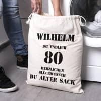 personalisierter Zuziehsack zum 80. Geburtstag eines alten Sacks