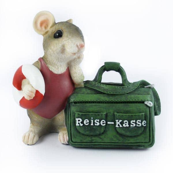 Spardose Maus mit grüner Tasche Reise-Kasse