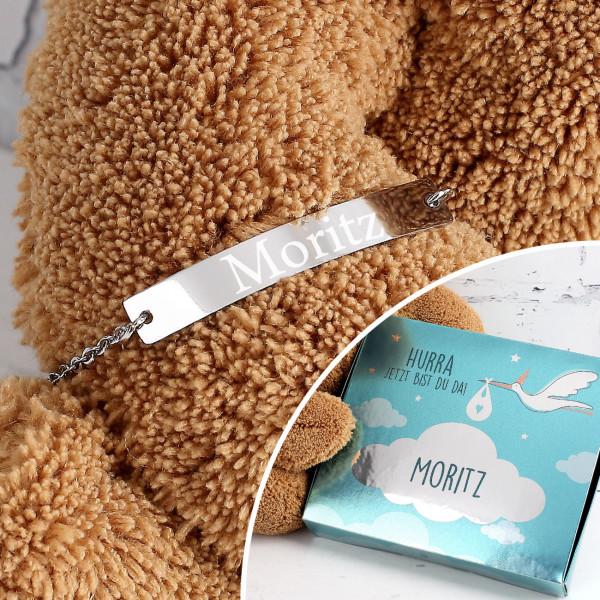 Babyarmband mit Gravur und persönliche Geschenkbox